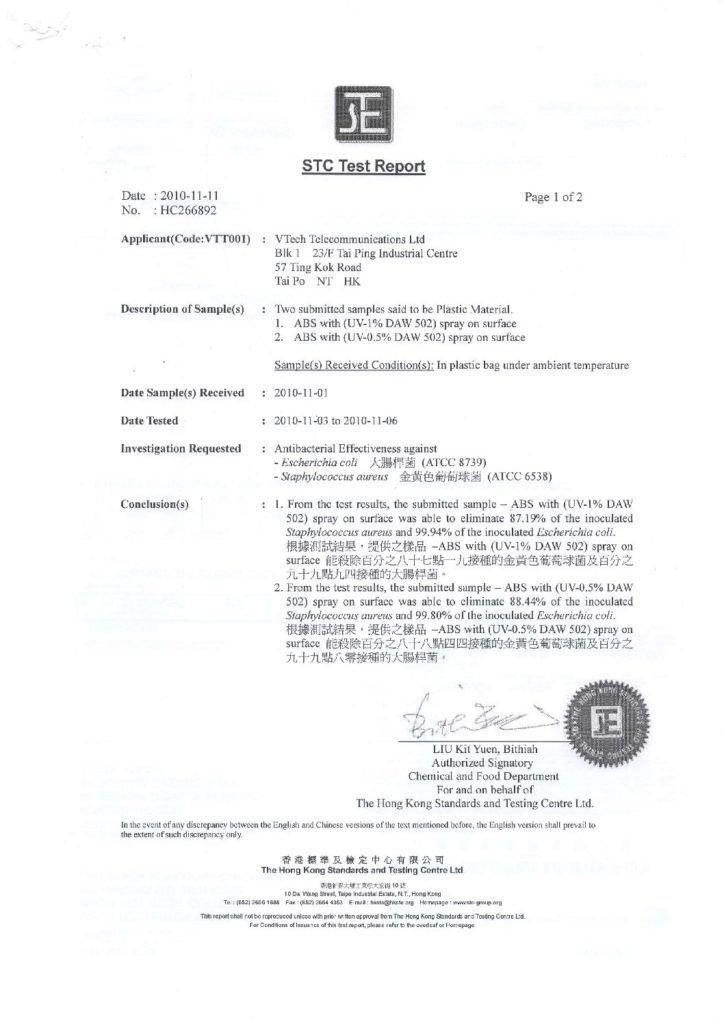 Antibacterial STC Test Report